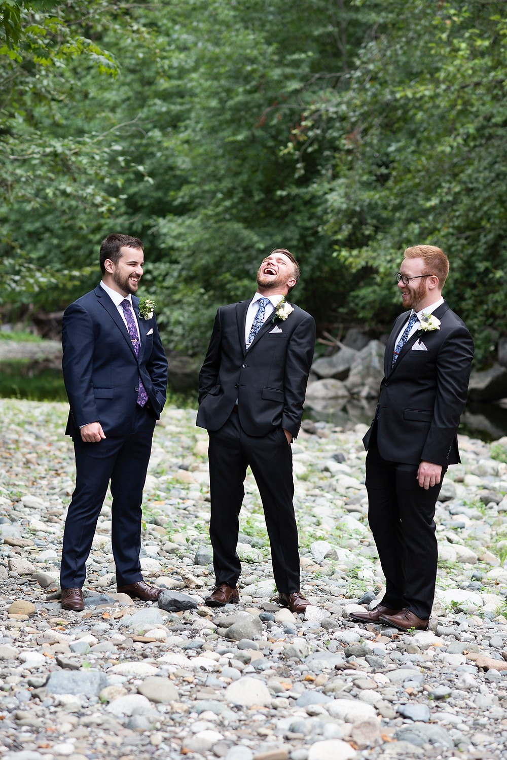 Groom and groomsmen at Vancouver Island wedding in August. Photographed by Kaitlyn Shea.