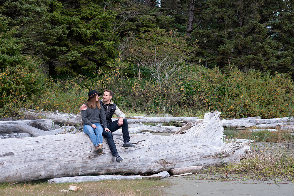 Beach engagement photos in Tofino. Photographed by Kaitlyn Shea.
