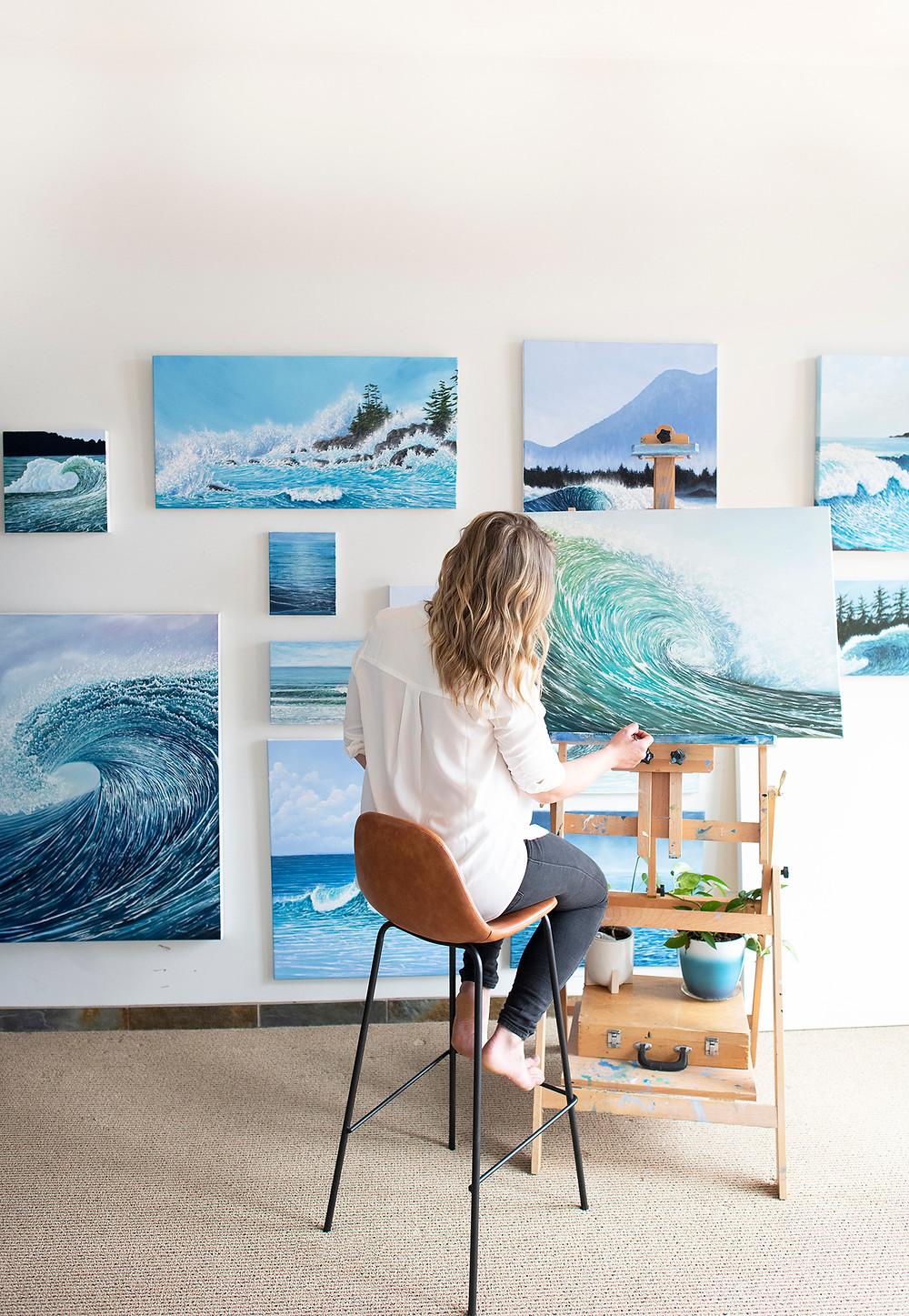 Ucluelet and Tofino artist Emma Paveley in her studio