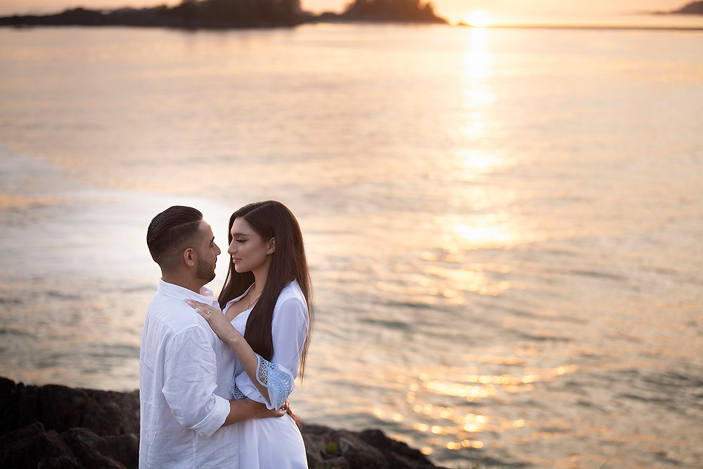 Surprise sunset proposal in Tofino. Photographed by Kaitlyn Shea.