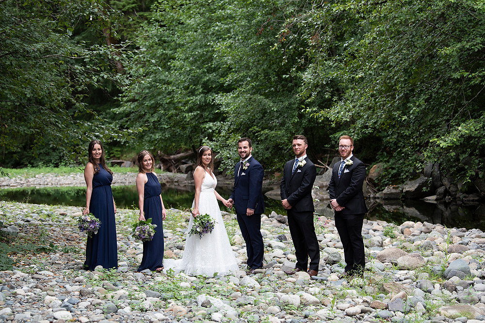 Bridal party at an August wedding on Vancouver Island. Photographed by Kaitlyn Shea.