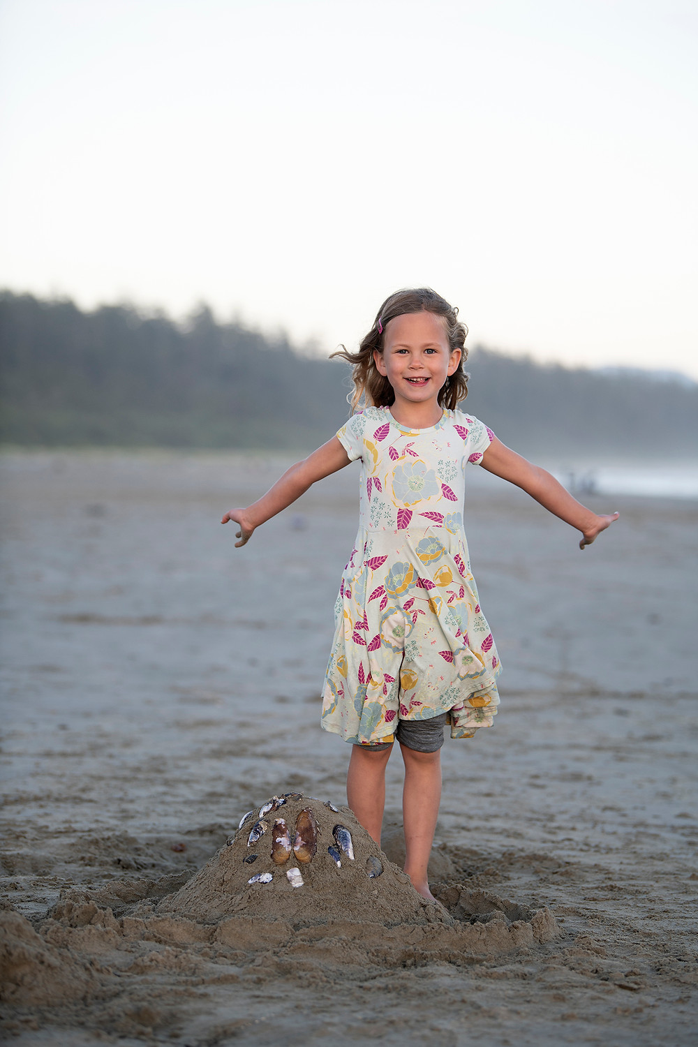 Little girl on Long Beach in Tofino. Photographed by Tofino family photographer Kaitlyn Shea.