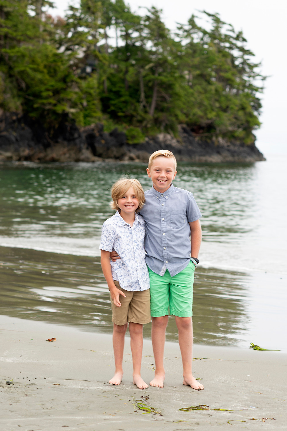 Brothers at the beach in Tofino. Photographed by Kaitlyn Shea.