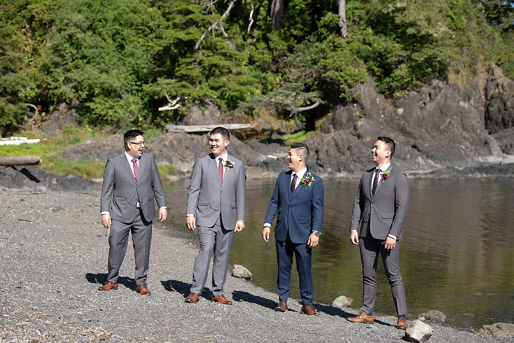 Bridal party stands on big Beach at a Ucluelet wedding at Black Rock Resort. Photographed by Ucluelet Photographer Kaitlyn Shea.