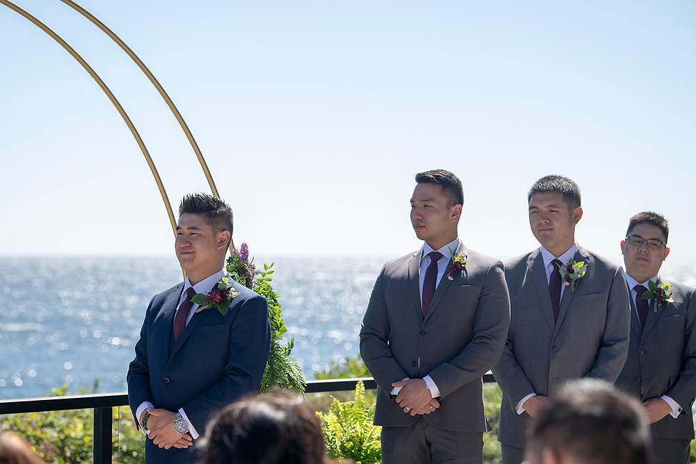 Groom and his groomsmen at his Ucluelet wedding at Black Rock Resort. Photographed by Ucluelet Photographer Kaitlyn Shea.