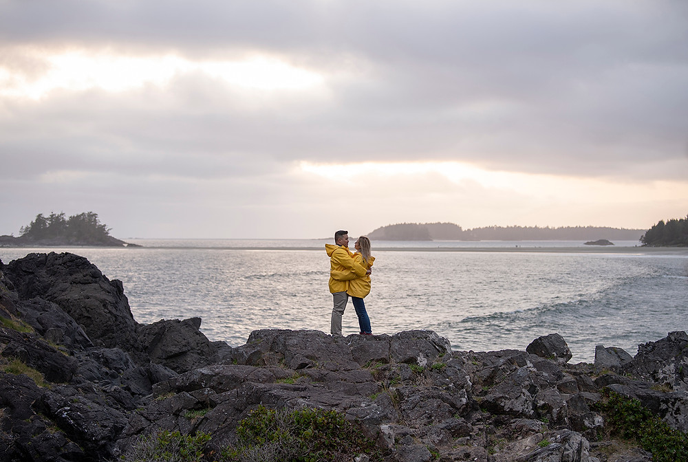 Surprise proposal in Tofino at sunset. Photographed by Tofino photographer Kaitlyn Shea.