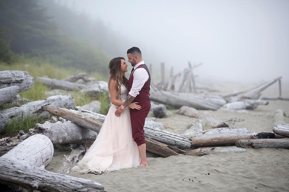wedding photos at Tofino beach wedding. Photographed by Kaitlyn Shea