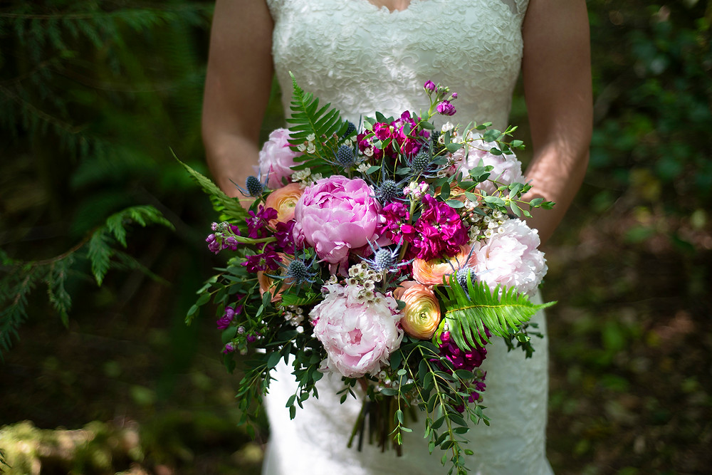 Wedding bouquet at Tofino forest wedding. Photographed by Tofino photographer Kaitlyn Shea.