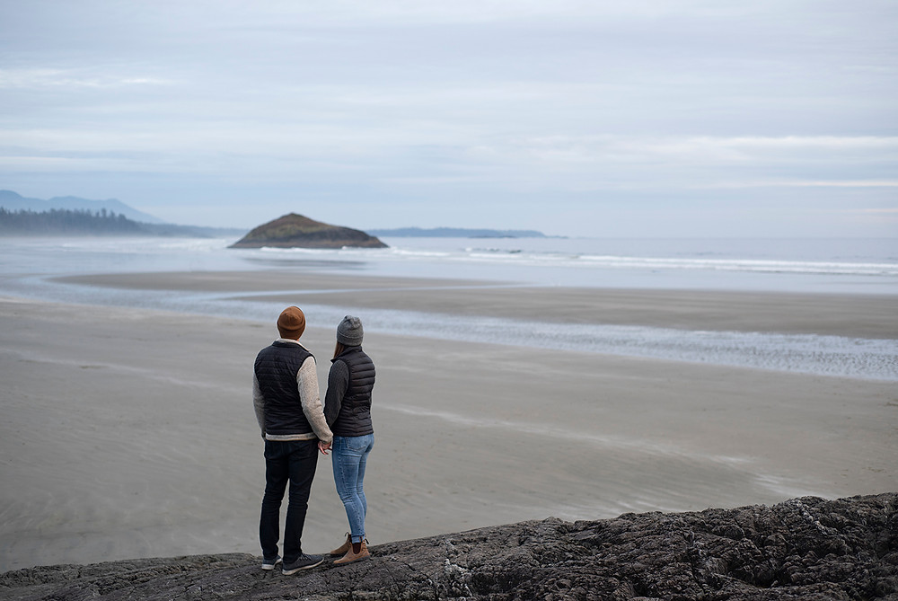 Getting engaged in Tofino on the beach. Photographed by Kaitlyn Shea.