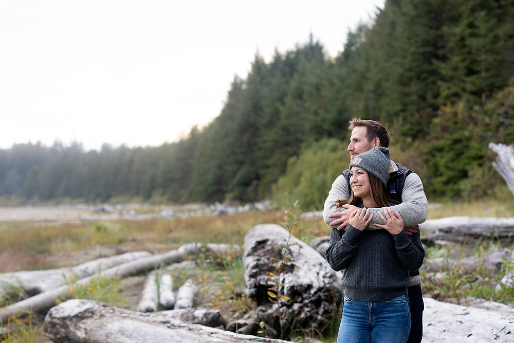 Engagement photos on the beach in Tofino. Photographed by Kaitlyn Shea.