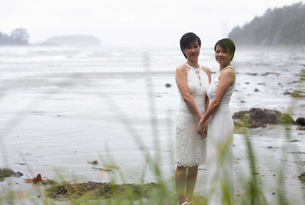 the happy couple at destination wedding in Tofino. Photographed by Kaitlyn Shea.