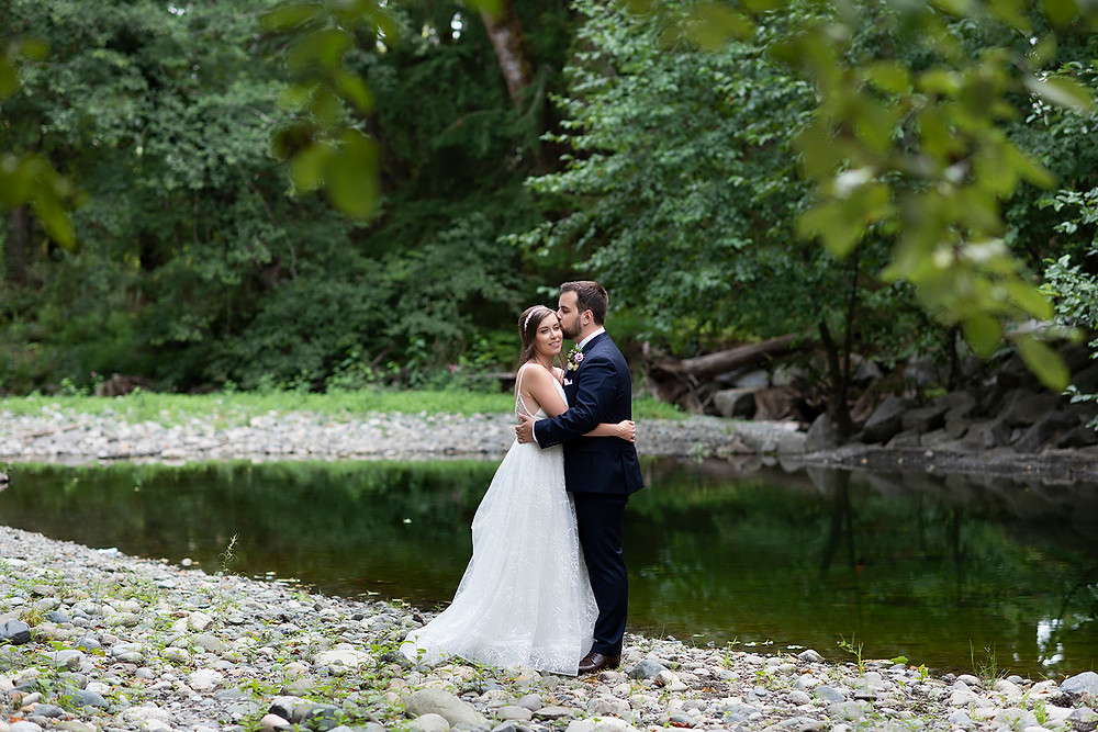 Newly married couple at their August wedding on Vancouver Island. Photographed by Kaitlyn Shea.