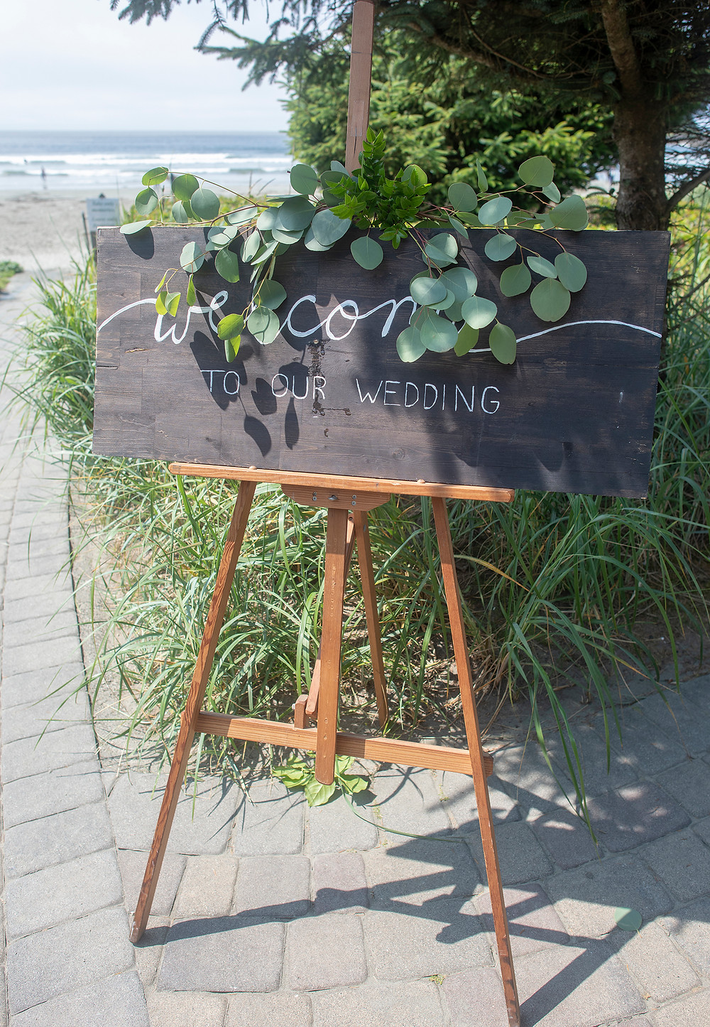 welcome sign at Long Beach Lodge wedding in Tofino. Photographed by Kaitlyn Shea