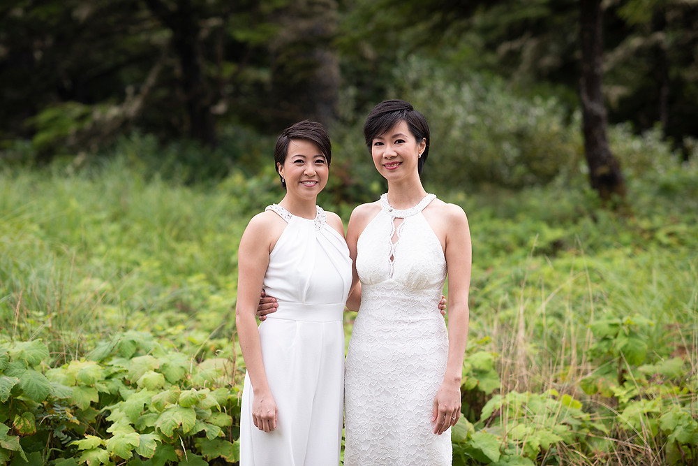 happy brides at destination wedding in Tofino. Photographed by Kaitlyn Shea.