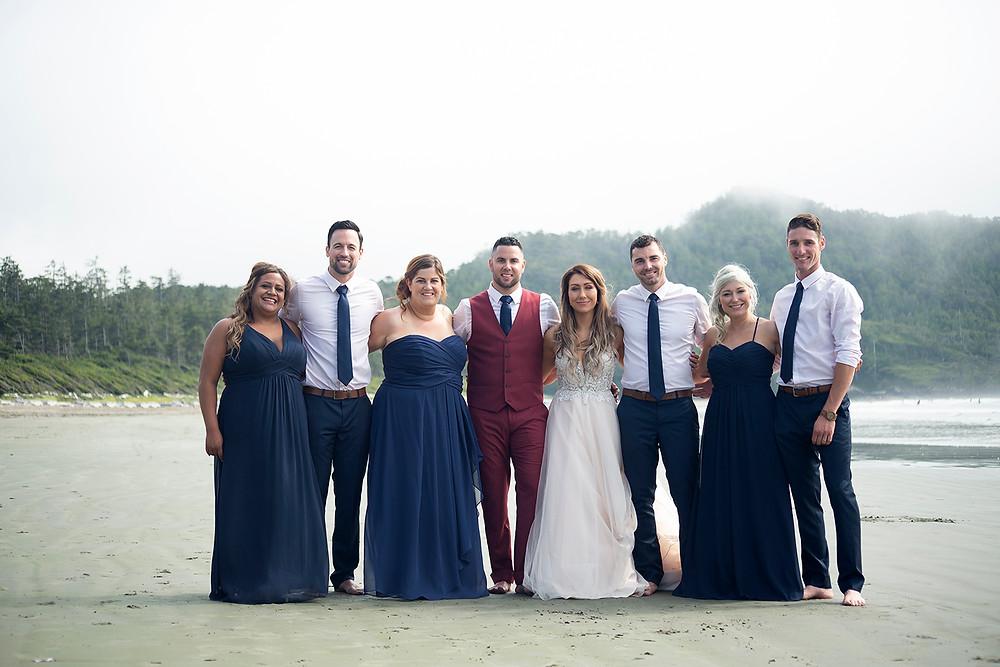 bridal party at Tofino wedding at Long Beach Lodge. Photographed by Kaitlyn Shea