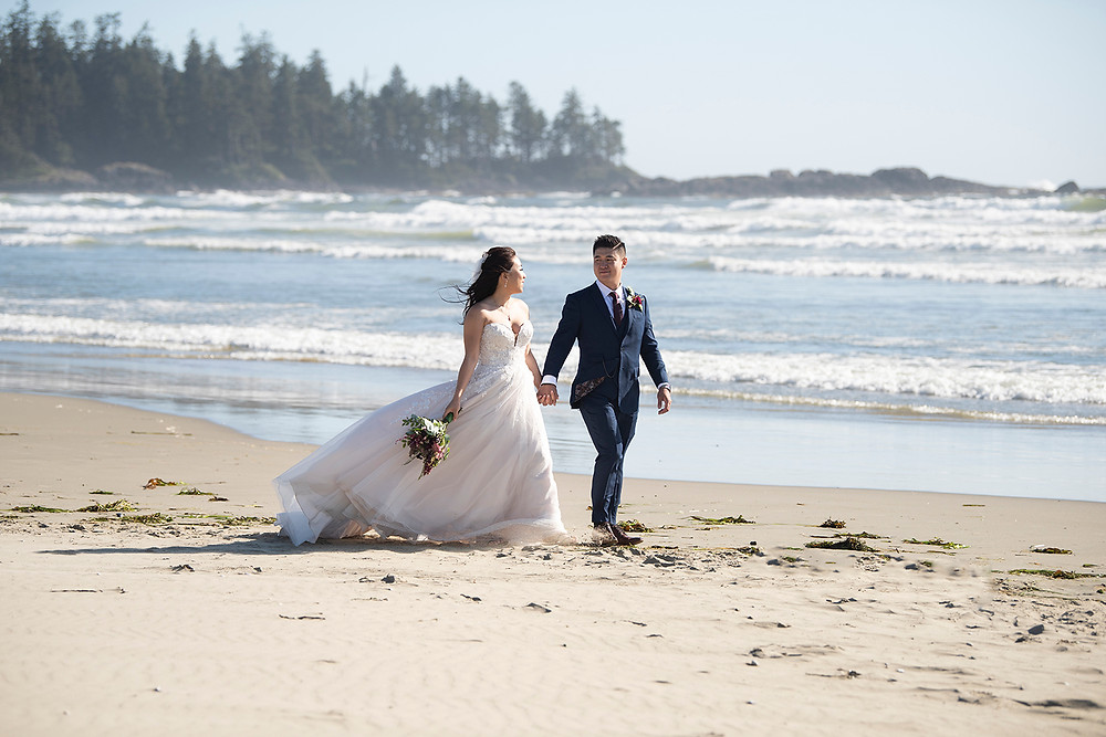 Husband and wife at their Ucluelet wedding at Black Rock Resort. Photographed by Ucluelet Photographer Kaitlyn Shea.