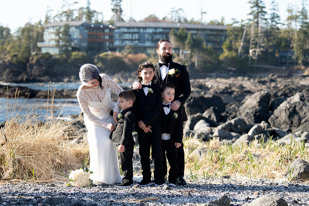 Family on the beach at Ucluelet elopement. Photographed by Kaitlyn Shea.