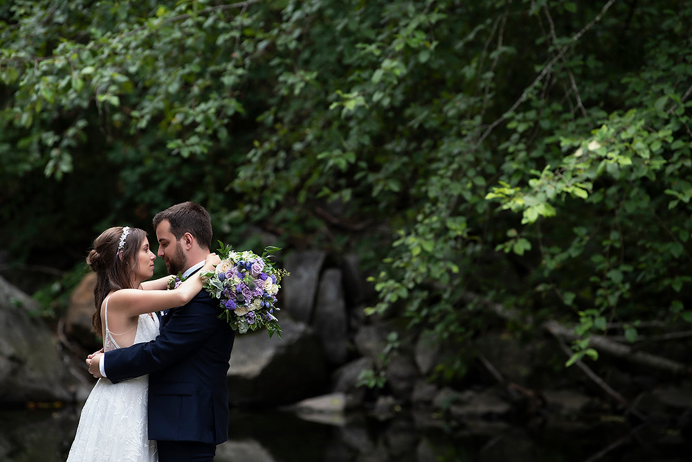 Bride and groom stare into one another's eyes at their August wedding on Vancouver Island. Photographed by Kaitlyn Shea.