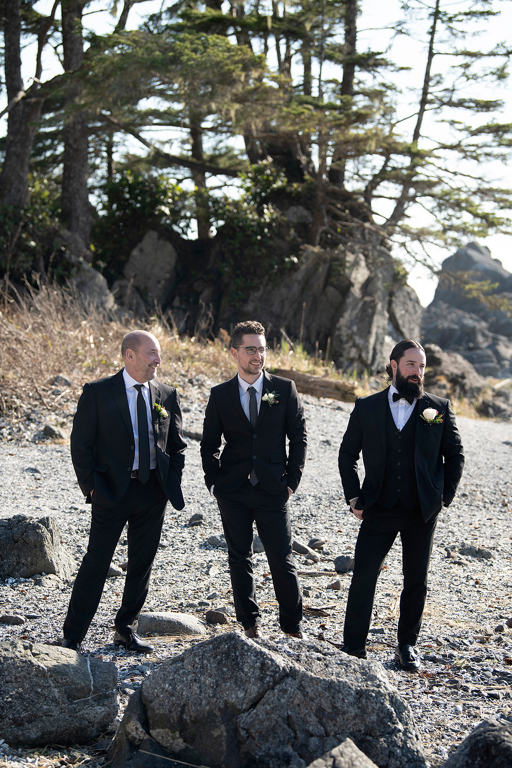 Guys wait for ceremony to commence at Ucluelet Elopement. Photographed by Kaitlyn Shea.