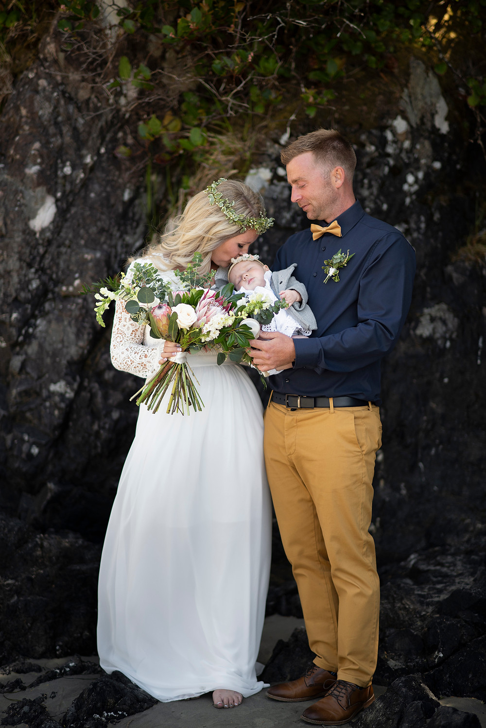 boho wedding dress at Tofino beach wedding. Photographed by Kaitlyn Shea