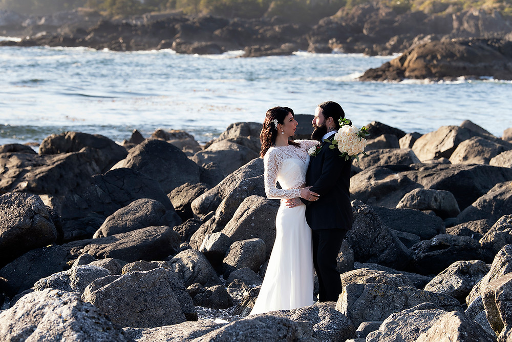 Bride and groom at their Ucluelet Elopement. Photographed by Kaitlyn Shea.
