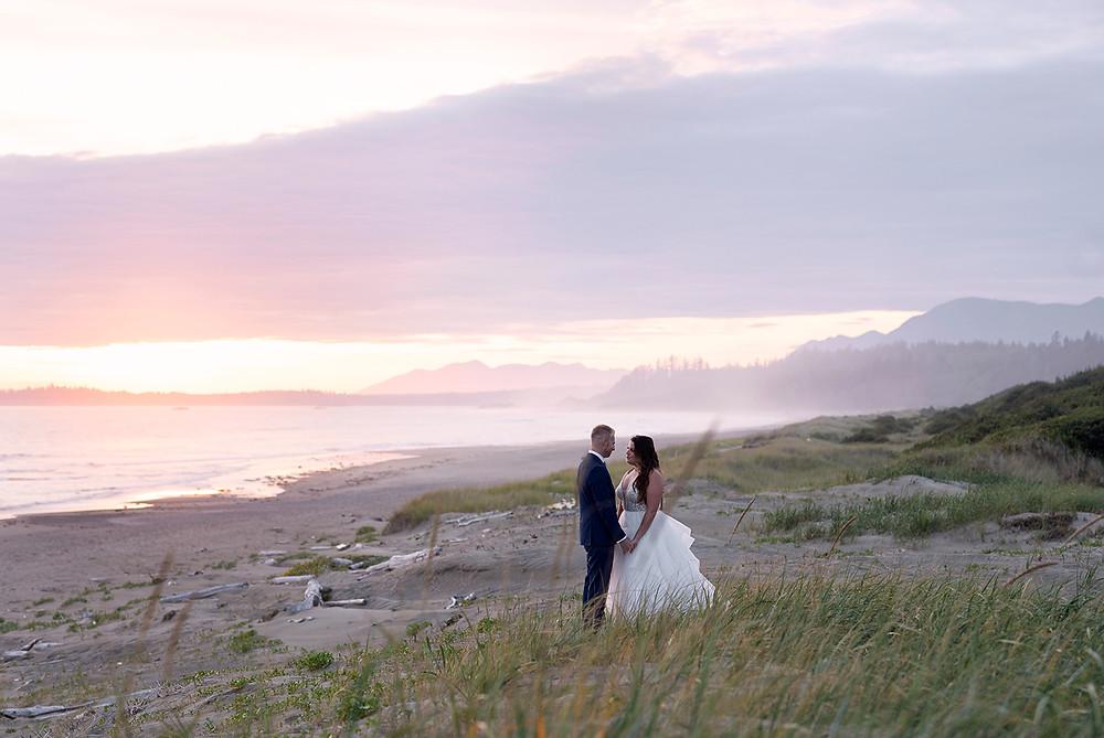 Sunset wedding photos on the beach in Tofino. Photographed by Tofino photographer Kaitlyn Shea.