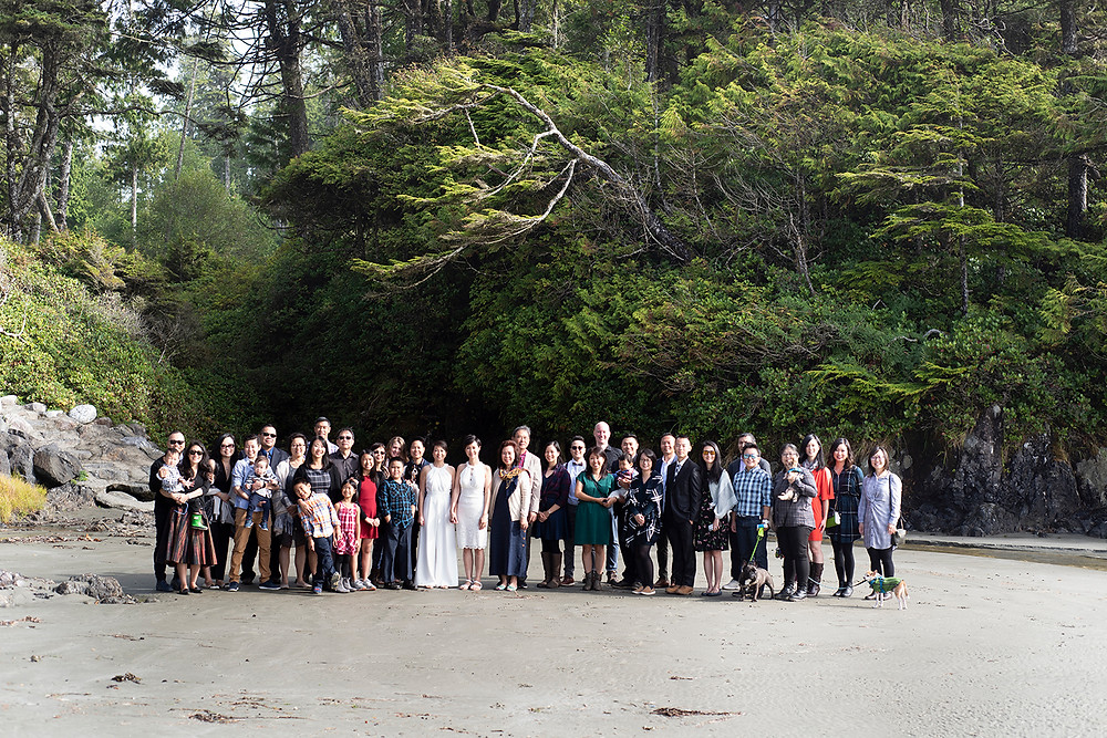 wedding guests together at destination wedding in Tofino. Photographed by Kaitlyn Shea.