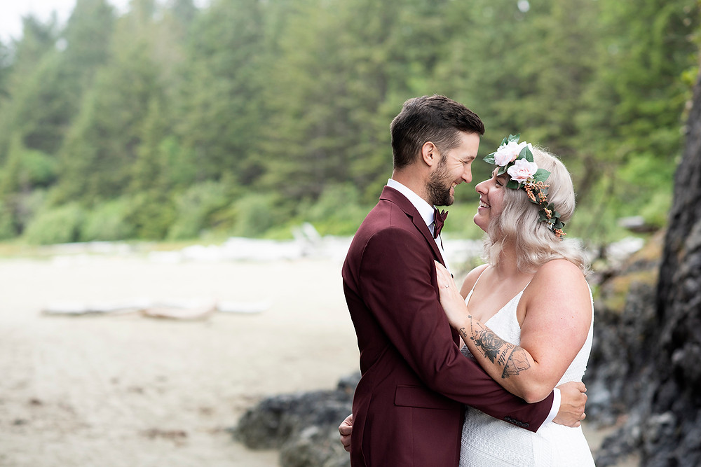 Renewing wedding vows in Tofino. photographed by Kaitlyn Shea.