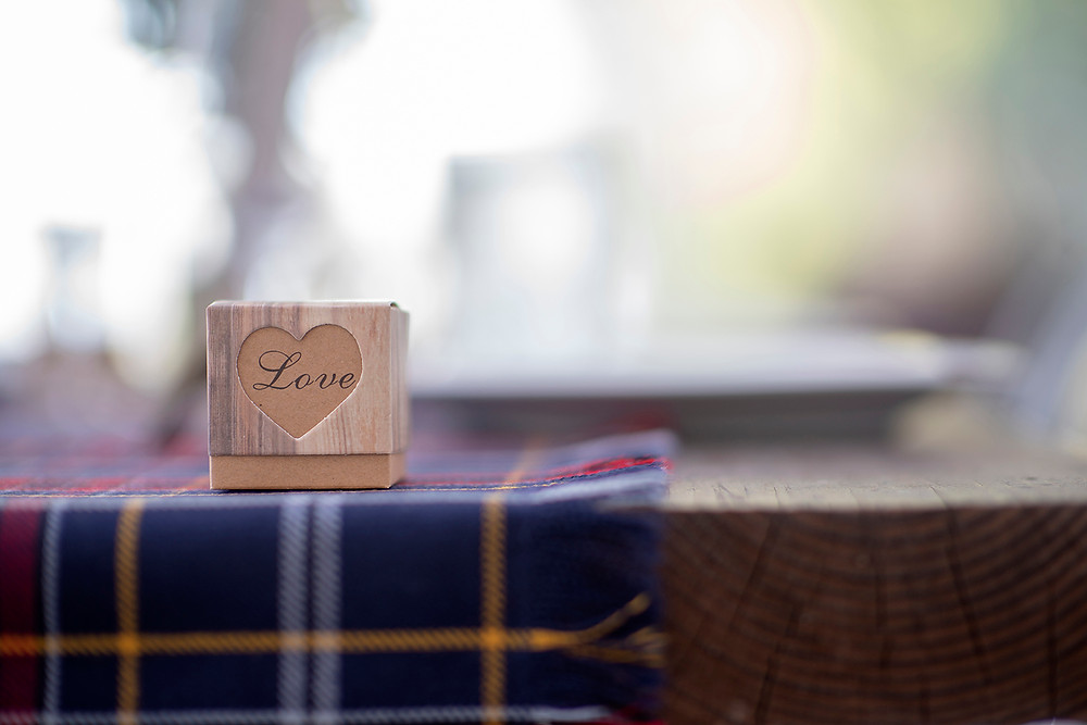Wedding gift box on table at Sea Cider wedding in Victoria. Photographed by Kaitlyn Shea.