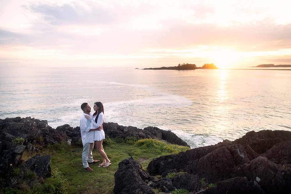 Proposing in Tofino at sunset. Photographed by Tofino photographer Kaitlyn Shea.