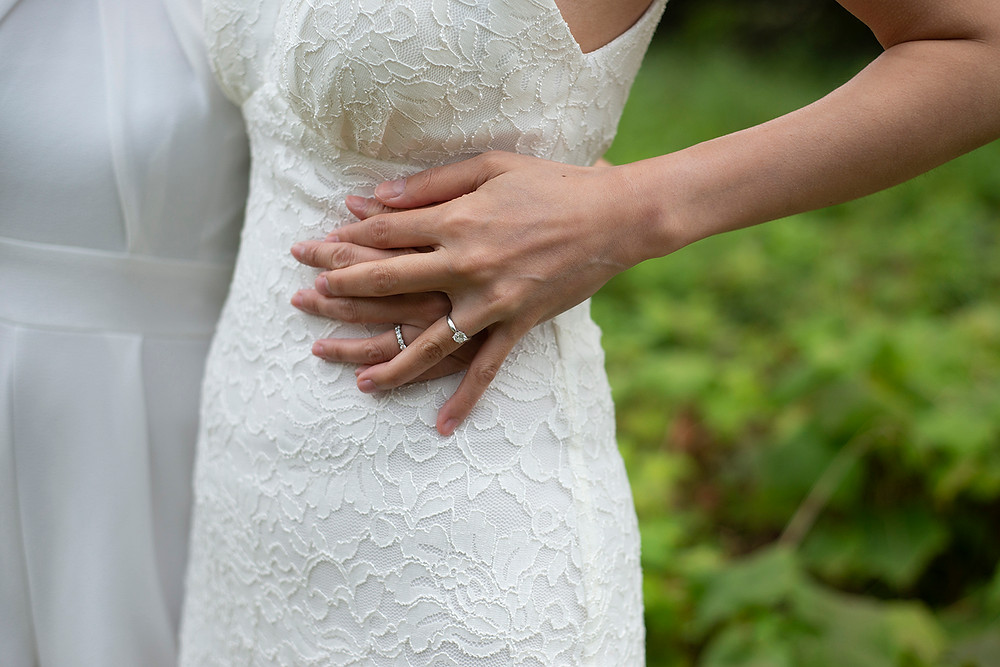 bride's wedding rings at destination wedding in Tofino. Photographed by Kaitlyn Shea.