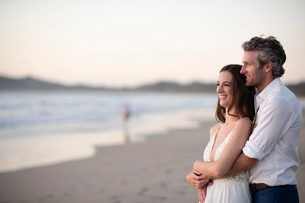 Bride and Groom at their destination wedding in Playa Grande, Costa Rica. Photographed by Kaitlyn Shea.