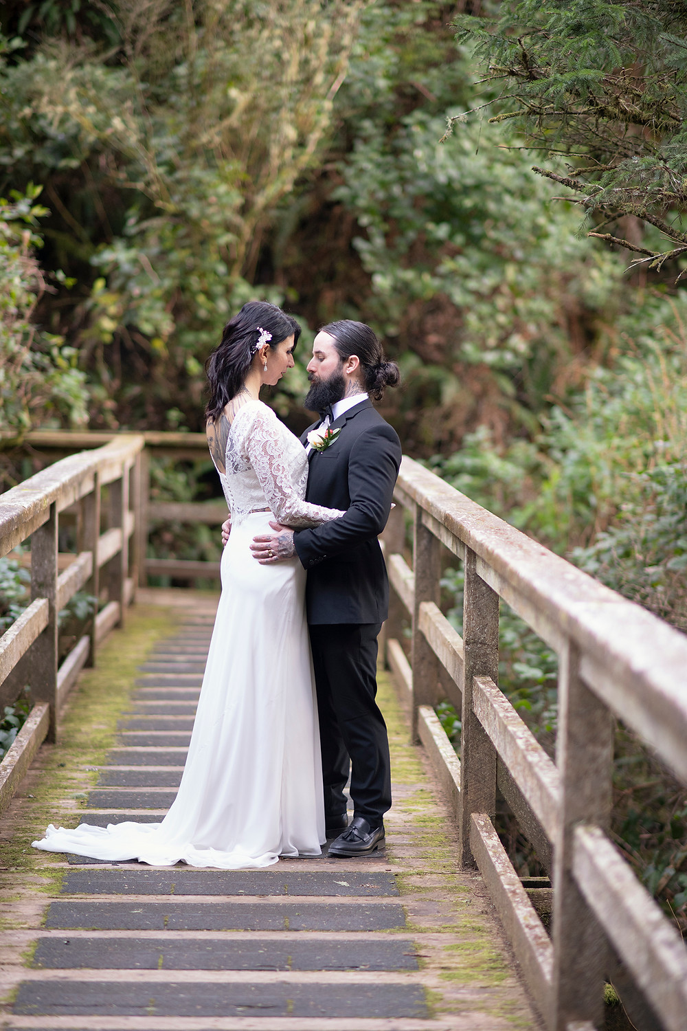 Ucluelet Elopement in the forest. Photographed by Kaitlyn Shea.