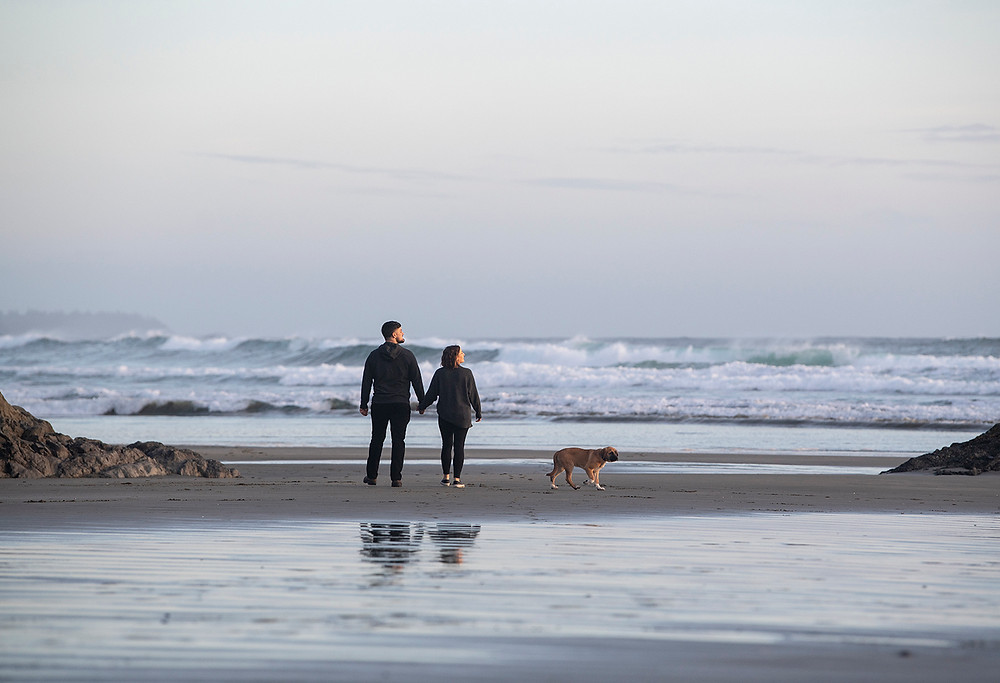 Couple walks hand in hand during their Tofino engagement photos. Photographed by Tofino photographer Kaitlyn Shea.
