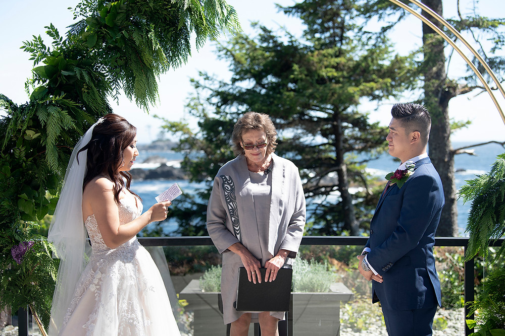 Couple reads their vows at a Ucluelet wedding at Black Rock Resort. Photographed by Ucluelet Photographer Kaitlyn Shea.