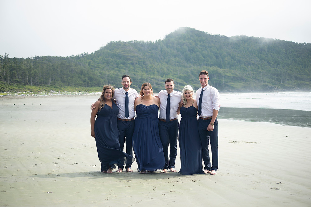 bridal party at beach wedding in Tofino at Long Beach Lodge. Photographed by Kaitlyn Shea