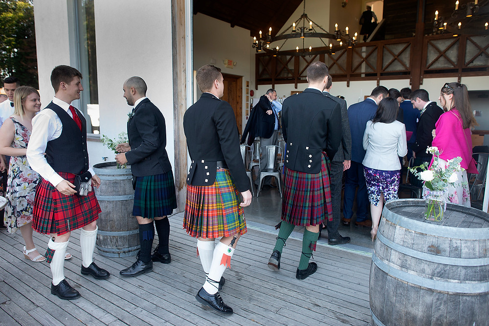 Guests arriving at wedding ceremony at Sea Cider in Victoria. Photographed by Kaitlyn Shea.