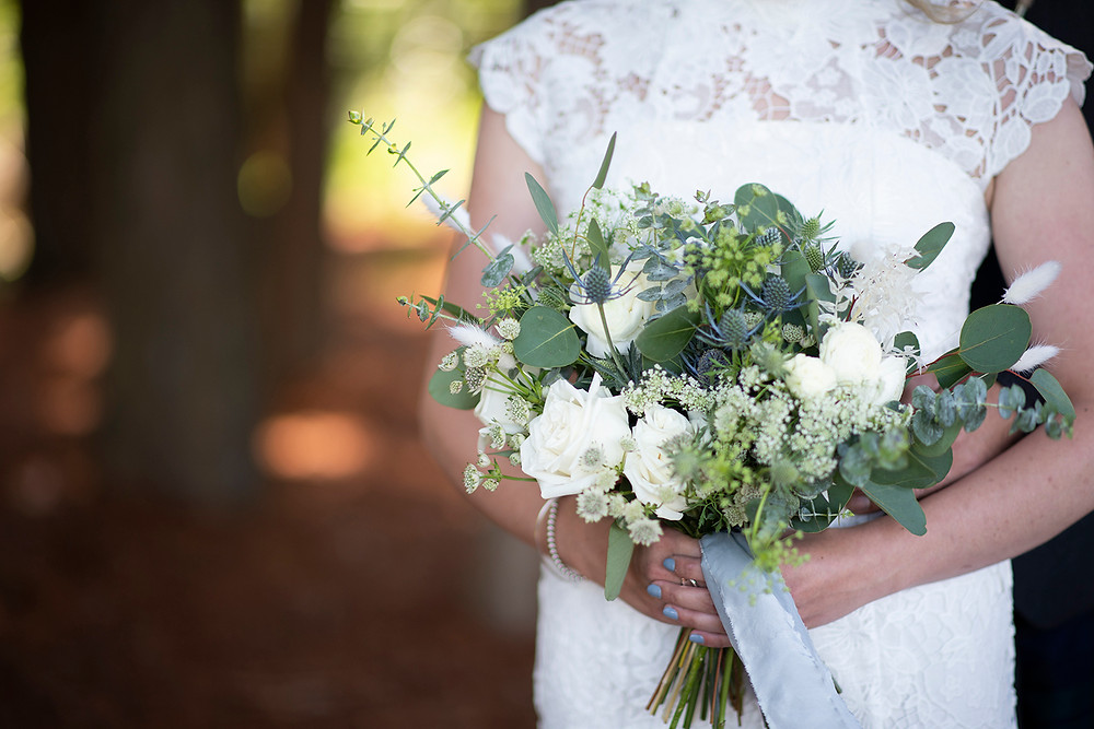 Bridal bouquet at Sea Cider wedding in Victoria. Photographed by Kaitlyn Shea.