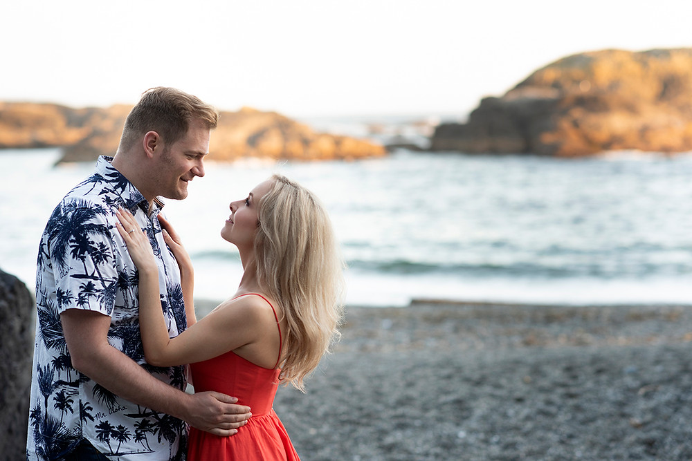 couple celebrates their engagement on the beach in Tofino. Photographed by Kaitlyn Shea.
