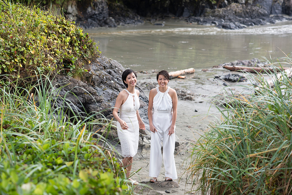 bride on beach at destination wedding in Tofino. Photographed by Kaitlyn Shea.