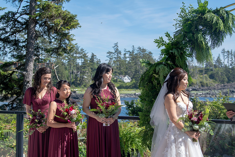 Bride and her bridesmaids at her Ucluelet wedding at Black Rock Resort. Photographed by Ucluelet Photographer Kaitlyn Shea.