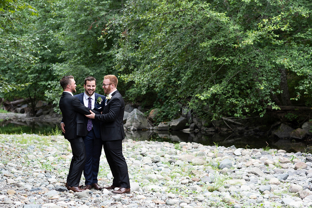 Groom and his two best friends joke around at his August wedding on Vancouver Island. Photographed by Kaitlyn Shea.