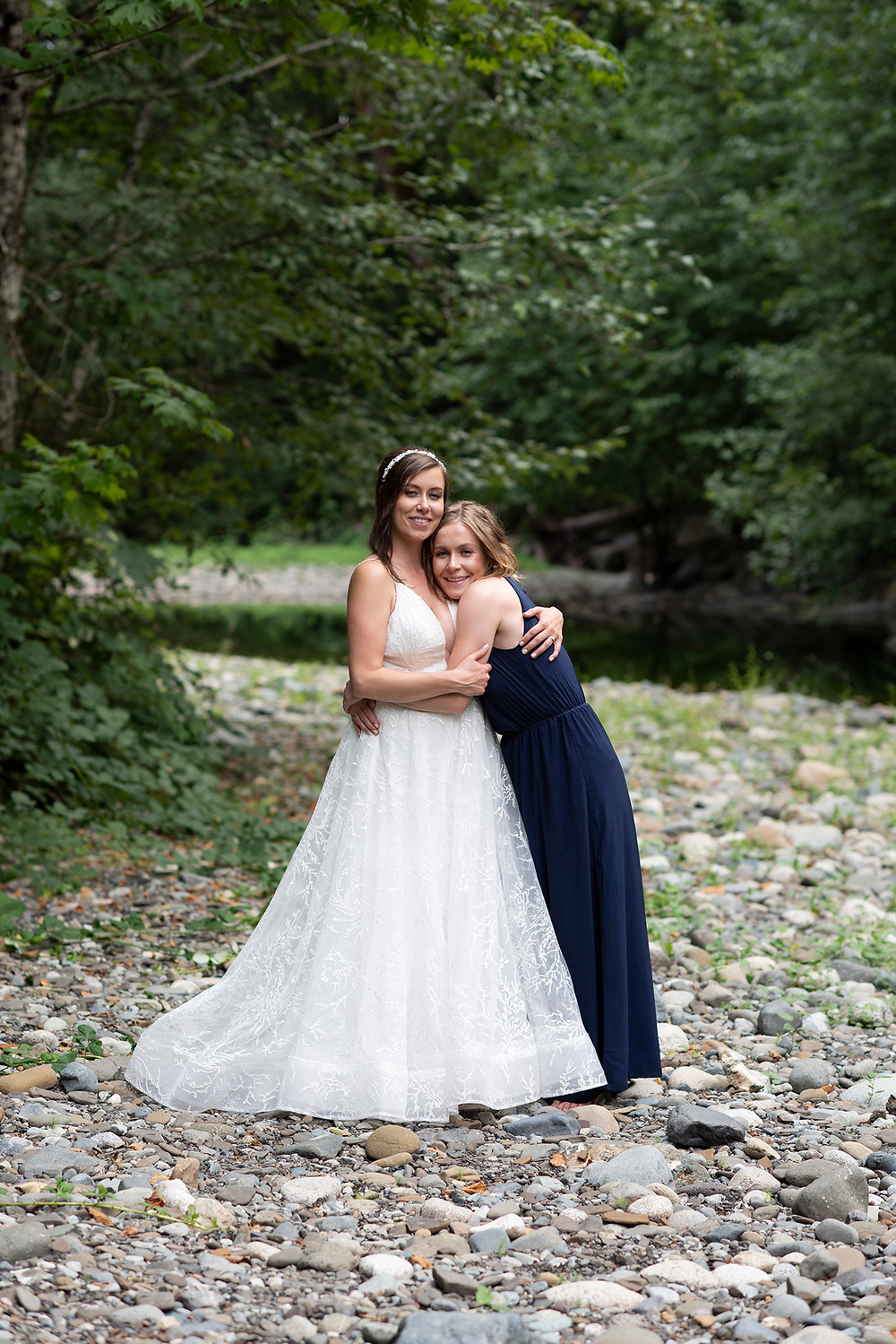 Maid of honour and bride at August wedding on Vancouver Island. photographed by Kaitlyn Shea.
