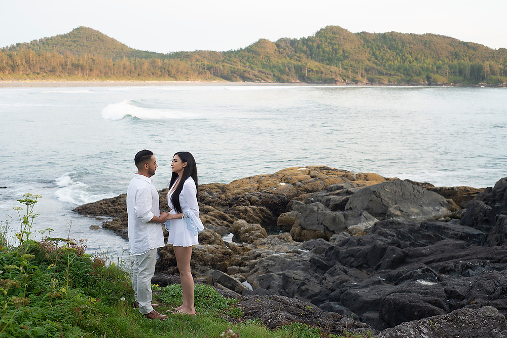 Surprise proposal at Pettinger Point in Tofino. Photographed by Kaitlyn Shea.