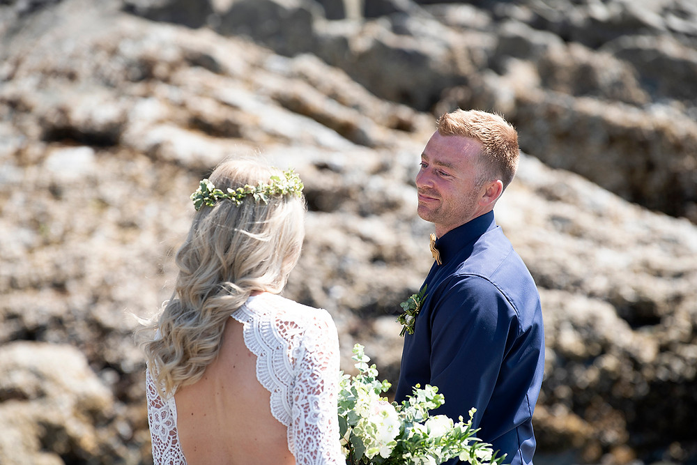 first look at Tofino wedding. Photographed by Kaitlyn Shea