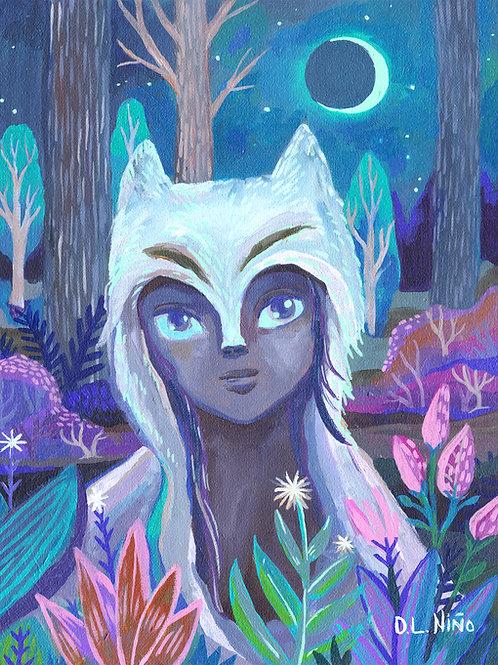 Wolf girl at night