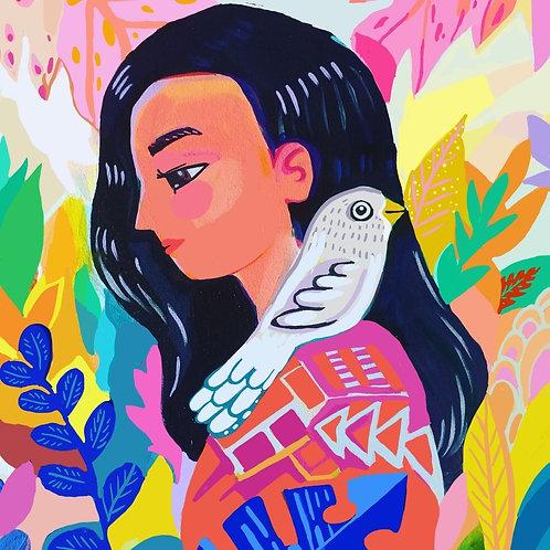 Selva, mujer y pajaro