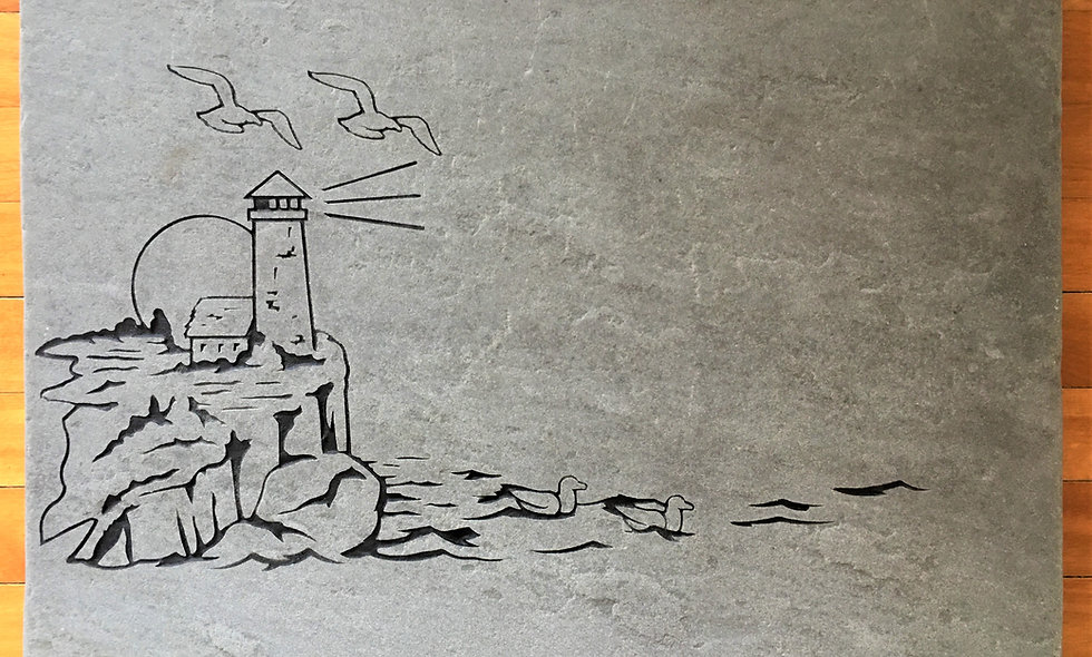 Blue Stone Lighthouse Scene