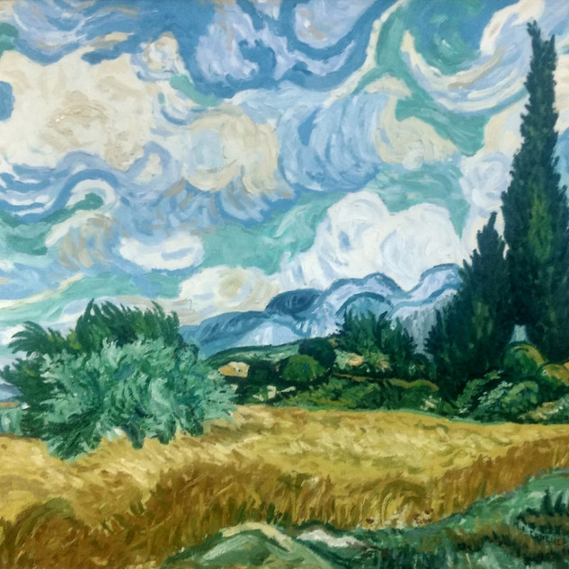 Wheatfield with Cypresses-Van Gogh-Oil o