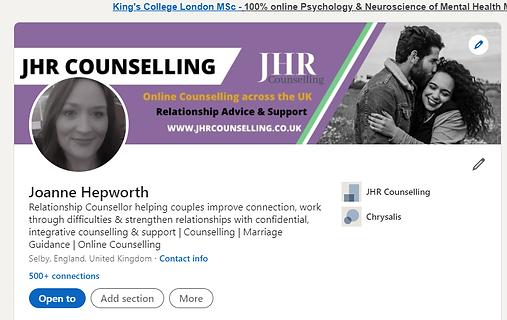 JHR Counselling LInkedIn